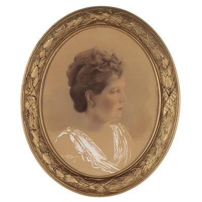 Embellished Crayon Portrait, Circa 1900