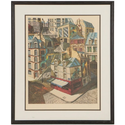 Offset Lithograph of Cityscape, Late 20th Century