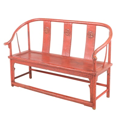 Chinese Red-Lacquered Horseshoe-Back Settee