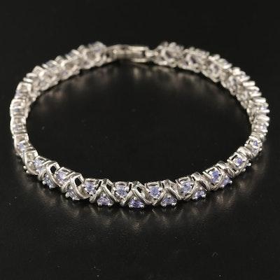 Sterling Tanzanite Fancy Link Bracelet
