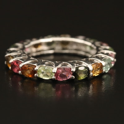 Sterling Silver Multicolored Tourmaline Eternity Band