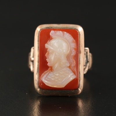 Victorian 10K Sardonyx Roman Soldier Cameo Ring