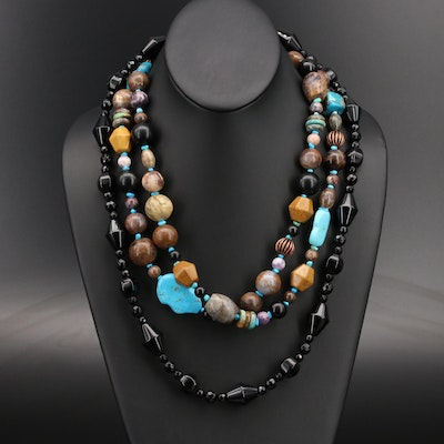 Jasper, Turquoise and Black Onyx Beaded Necklaces Including Desert Rose Trading
