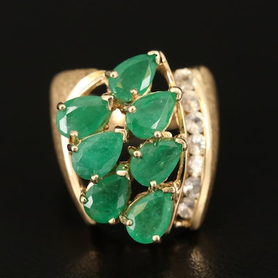 14K Emerald and White Sapphire Ring with Textured Finish
