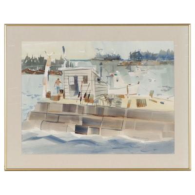 "Sanford Brooks Watercolor Painting ""Vikings at Kovik, Gotland,"" Mid-20th Century"