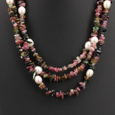 Desert Rose Trading Tourmaline and Pearl Necklace with Sterling Closure