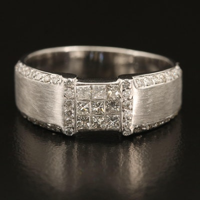 18K 1.00 CTW Diamond Ring with Brush Detail
