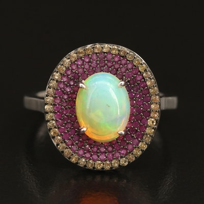 Sterling Opal and Sapphire Multi-Halo Ring