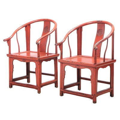 Pair of Chinese Red-Lacquered Horseshoe-Back Armchairs