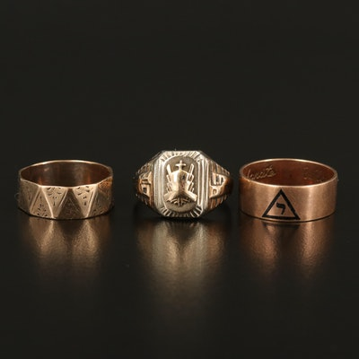 Rings Featuring Masonic 14th Degree, 10K and Sterling