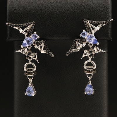 Sterling Bat Earrings with Tanzanite and Spinel