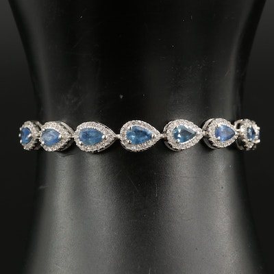 Sterling Sapphire and Cubic Zirconia Bolo Bracelet
