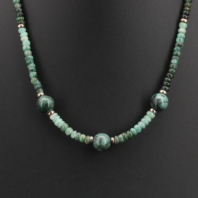 Sterling Emerald and Glass Beaded Necklace