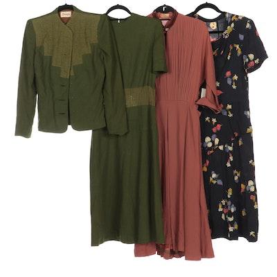 R & K Original Pleated Bodice Dress, Doop's Wool Dress and Jacket, Print Dress