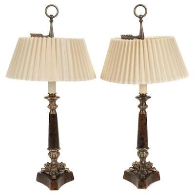 Pair of Neoclassical Style Candlestick Table Lamps, Mid-20th Century