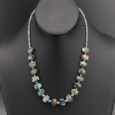 Sterling Labradorite Beaded Necklace