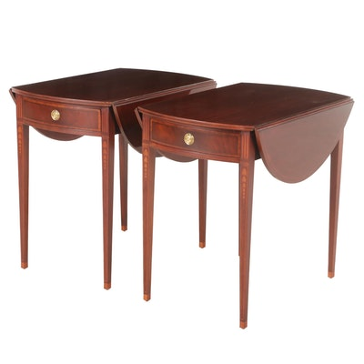 Pair of Baker Furniture Federal Style Mahogany and Marquetry Pembroke Tables