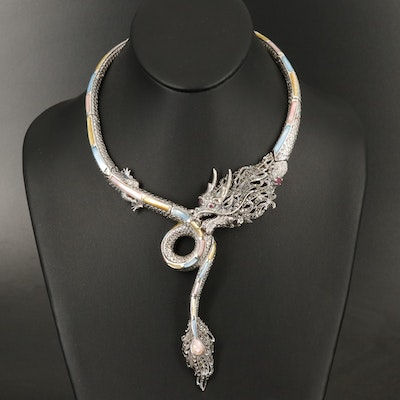 Sterling Dragon Collar Necklace with Corundum, Ruby and Mother of Pearl
