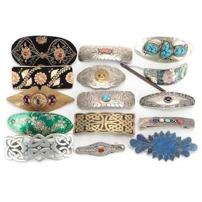 Sterling, Celtic Pewter, Mother-of-Pearl, Turquoise, Beaded and More Barrettes