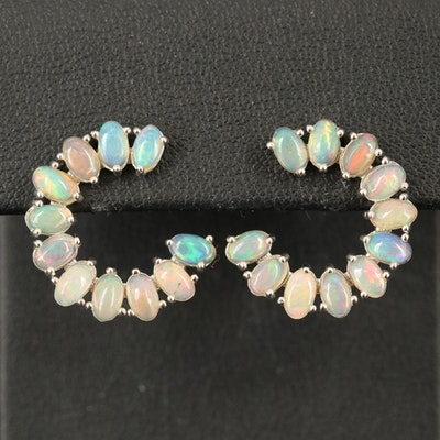 Sterling Opal Button Earrings