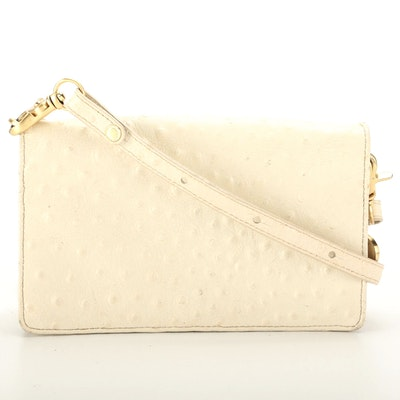 Brahmin Ostrich Embossed Leather Flap Front Crossbody