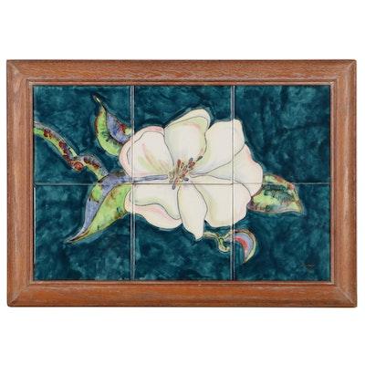 Floral Ceramic Tile, Late 20th Century