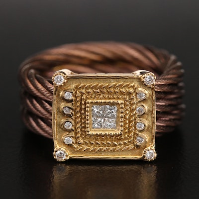 Charriol 18K and Stainless Steel Cable 0.23 CTW Diamond Ring