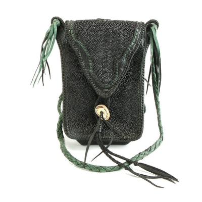 San Miguel Stingray and Leather Crossbody Bag with Braided Strap