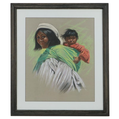 Marie Castuila Heredia Pastel Drawing of Mother and Child