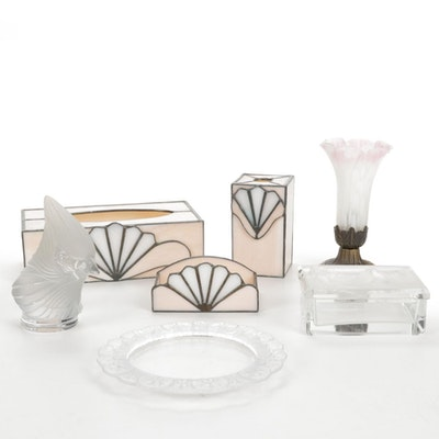 Blush Slag Glass Vanity Accessories, Pressed Glass Tray, Pond Lily Accent Light