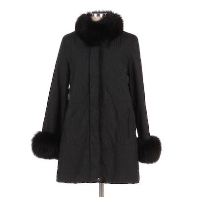 Saga Fur Winter Coat with Fox Fur Trim and Sheared Rabbit Fur Liner