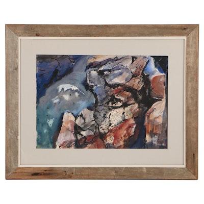 "Sanford Brooks Watercolor Painting ""Tidal Pool,"" Mid-20th Century"