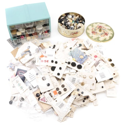Buttons Including Leather Wrapped, Cloth Covered, Resin, and More