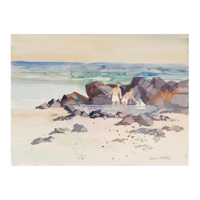 """Sanford Brooks Watercolor Painting """"Tide Water Pool,"""" Late 20th Century"""