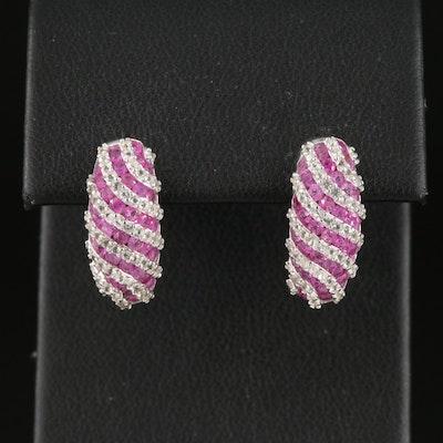 Sterling Ruby and White Topaz Shrimp Earrings