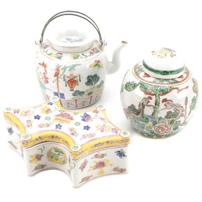 Chinese Enameled Porcelain Ginger Jar, Teapot, and Box