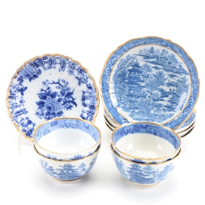 """Miles Mason """"Broseley"""" English Porcelain Tea Bowls and Saucers, Early 19th C."""
