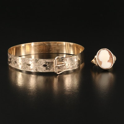 Victorian 10K Oval Shell Cameo Ring with Engraved Buckle Bracelet