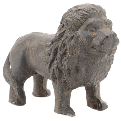 Cast Iron Lion Figurine, 20th Century