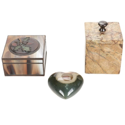 Marble Lidded Box With Agate Heart and Slag Glass Box