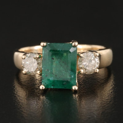 14K 1.57 CT Emerald and Diamond Ring