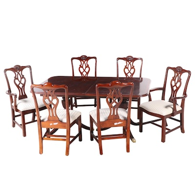 Duncan Phyfe Style Double Pedestal Table with Chippendale Style Chairs