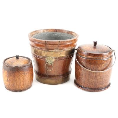 English Regency Brass Banded Oak Wine Bucket and Victorian Biscuit Barrels