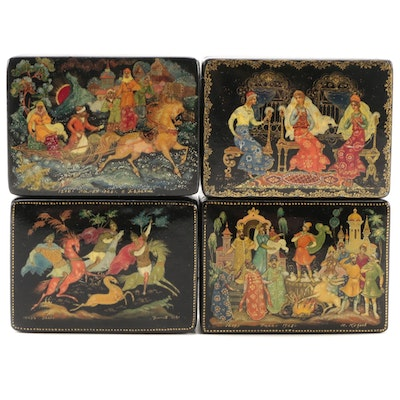 Miniature Folklore and Fairytale Russian Lacquer Boxes