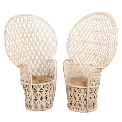 Pair of Painted Wicker Fan-Back Armchairs, Mid-20th Century