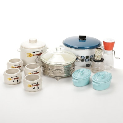 Mid Century Modern Westbend Soup Tureen and Bowls with Other Kitchen Accessories