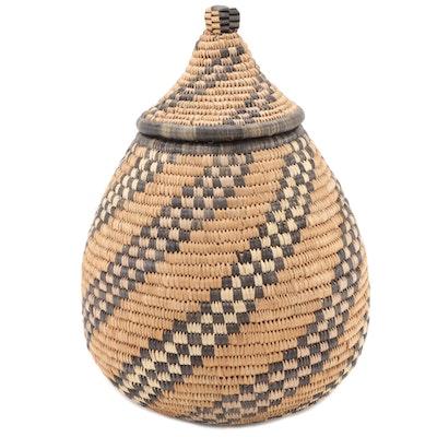 Zulu Style Hand-Woven Lidded Basket, South Africa
