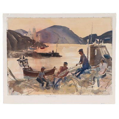 """Sanford Brooks Watercolor Painting """"Harbor of Ios, Greece,"""" Late 20th Century"""