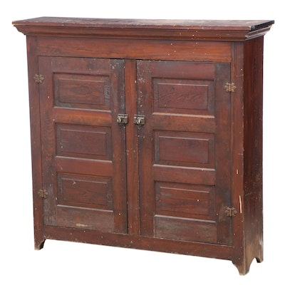 American Primitive Yellow Pine Flat Wall Cupboard, Late 19th/Early 20th Century