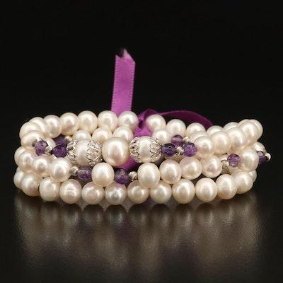 Trio of Pearl and Amethyst Stretch Bracelets